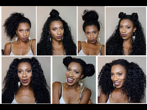 curly natural hair styles 7 styles 1 wig outre peruvian bundle half wig review 8890 | hqdefault