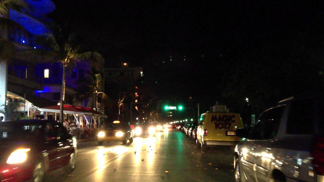 Ocean Drive Miami Beach Night Driving