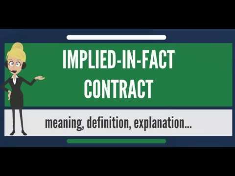 What Is Implied In Fact Contract What Does Implied In Fact Contract
