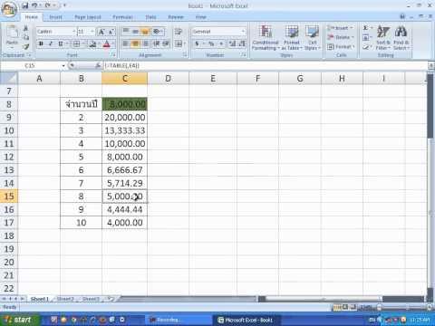 การคำนวณค่าเสื่อมราคาใน Excel