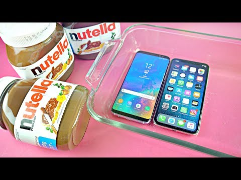 iPhone X vs Samsung Galaxy S8 - NUTELLA FREEZE TEST!!!
