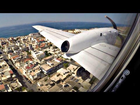 TUS Airways Saab 340 First Flight to Heraklion - GoPro Wing Views - LCA Takeoff, HER Landing
