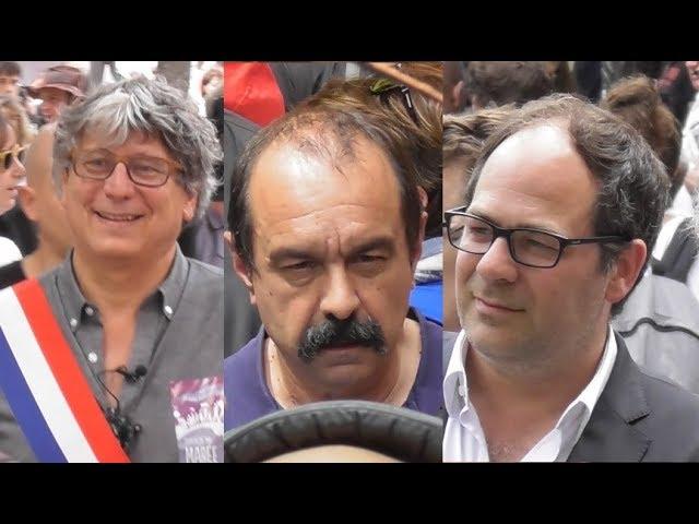 Emmanuel Maurel P.S., Philippe Martinez CGT à la Manifestation du 26 mai 2018 Marée populaire