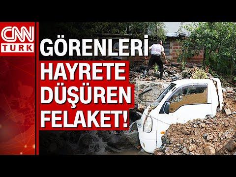 Rize'deki sel felaketinde karayolu çöktü, araçlar toprak altında kaldı
