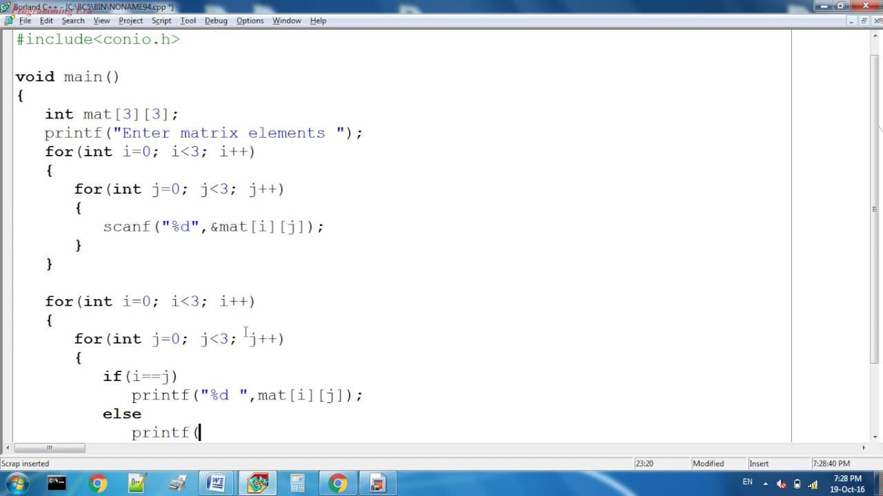 Diagonal and Anti Diagonal of a matrix in C programming