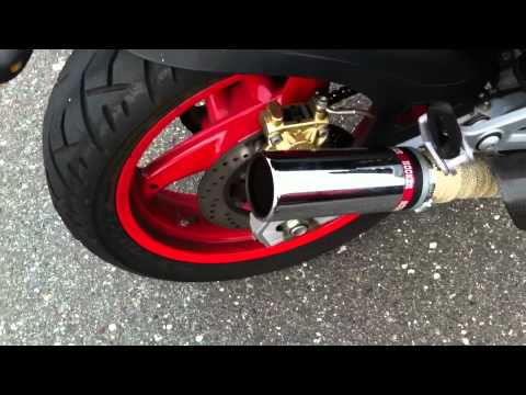 ducati monster exhaust- glass pack resonating tips on straight