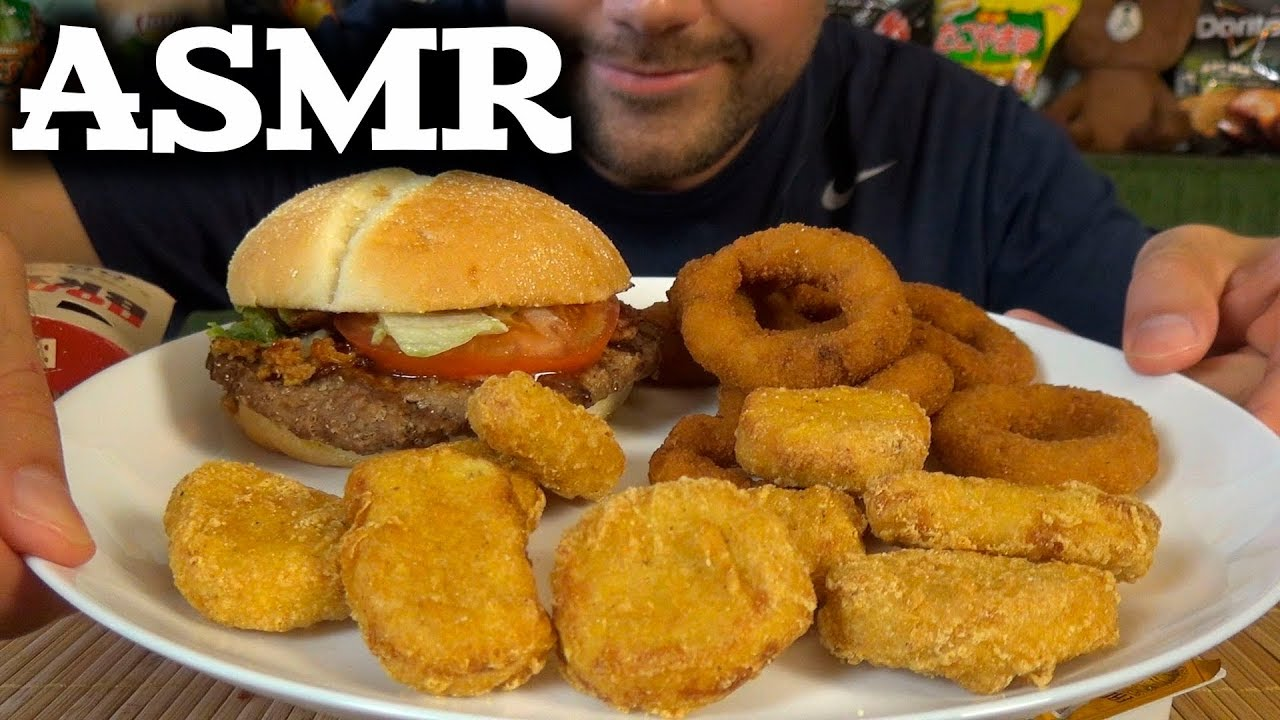 Burger King Steakhouse Burger Onion Rings Donut Chicken Nuggets Asmr Eating No Talking