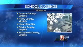 Wednesday school closings and delays