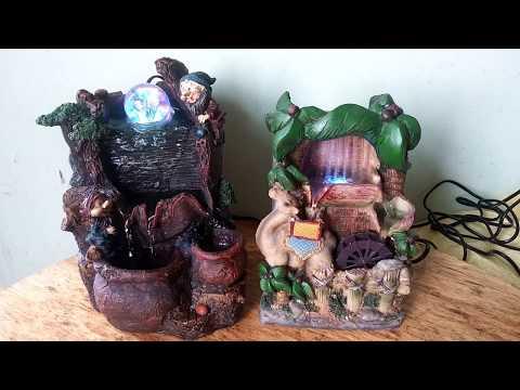 Фонтан Фен шуй комнатный декоративный настольный садовый с подсветкой, насосом, шариком и мельницей