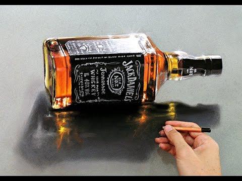 "3D Hyper-realistic drawing Whisky Jack Daniels ""Fabiano Millani"""