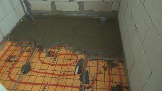 Цементная стяжка для теплого пола(На эту комнату ушло 2 мешка цемента, состав классический 1 к 3, Цемент и песок. Песок не просеивал и были мелки..., 2015-10-10T16:34:07.000Z)