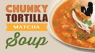 Chunky Chicken Tortilla Soup recipe made using a Vitamix or Blendtec commercial blender