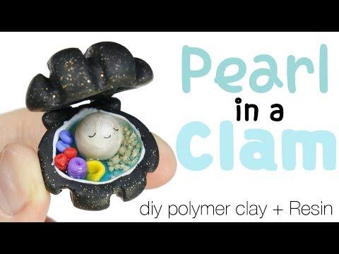How to DIY Kawaii Pearl in a Clam Ocean Terrarium Polymer Clay/Resin Tutorial
