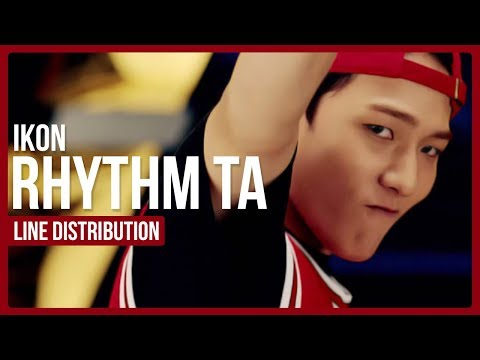 iKON - Rhythm Ta Line Distribution (Color Coded)