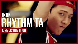 iKON - Rhythm Ta Line Distribution (Color Coded)