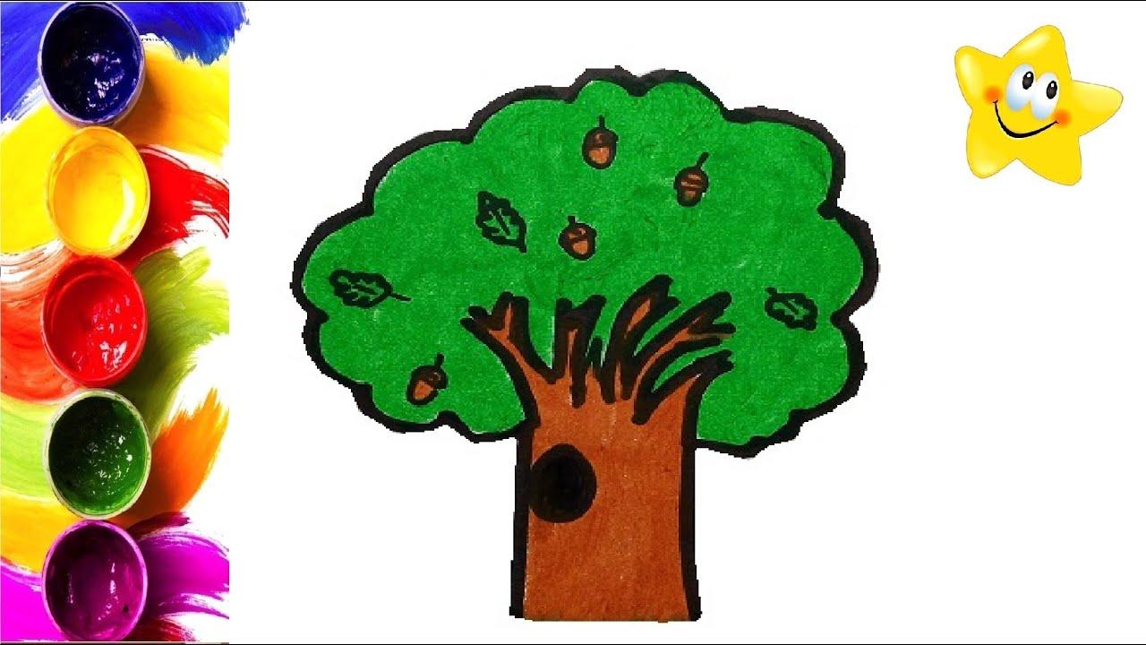Рисунок, раскраска для детей ДУБ. Мультик - Раскраска ...