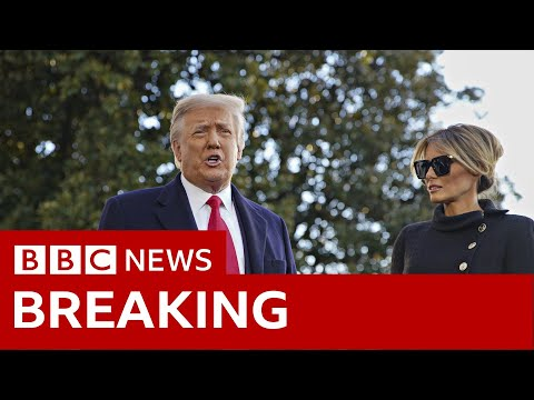 Trump leaves White House for last time as president - BBC News