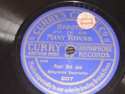 """""""Poor Old Joe"""" Sung by the Belgravia Quartette Currys Cycle Co 207"""