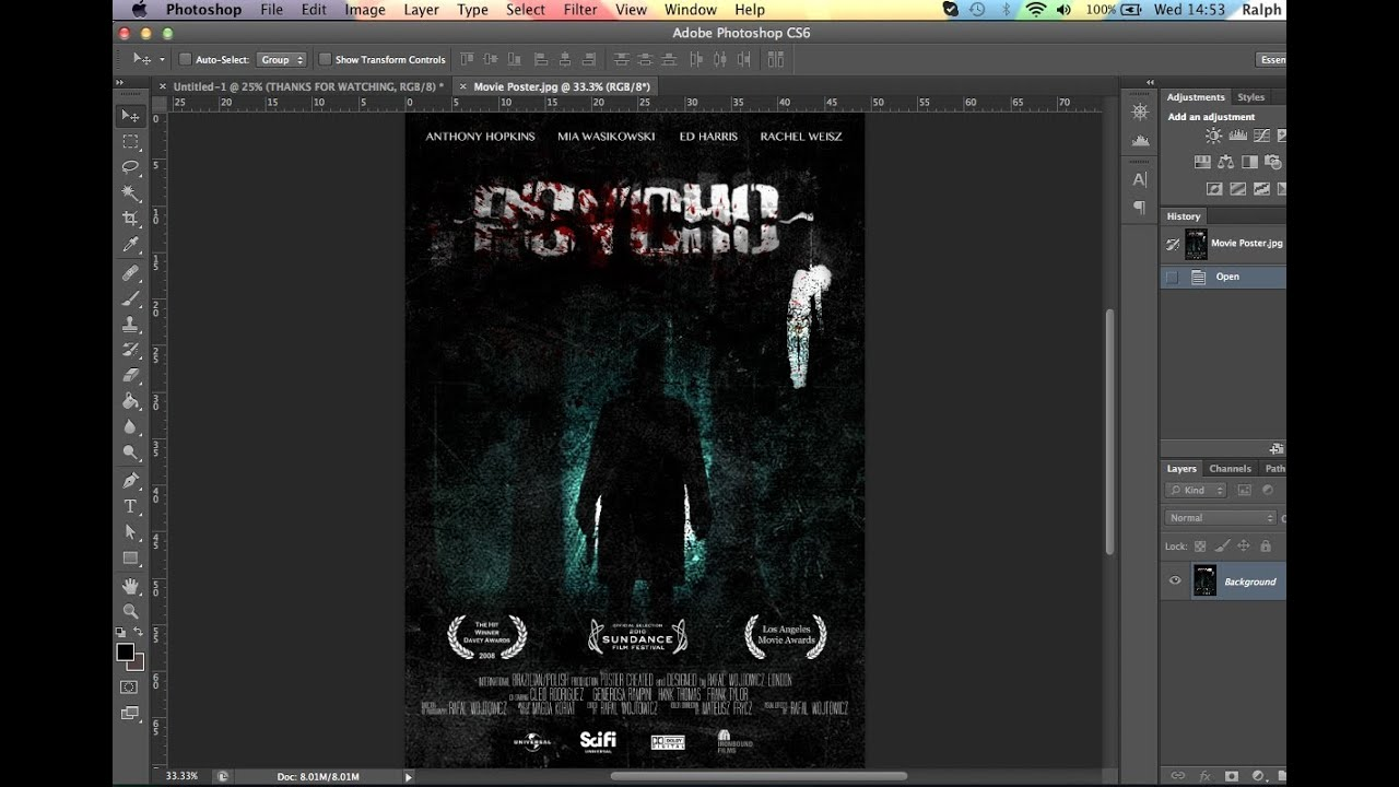 How to make a MOVIE POSTER (Photoshop CS6 SpeedArt) - YouTube