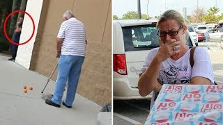 This Old Man Drops His Groceries, Mom Cries When She Realizes He's Tricked Her Into Helping