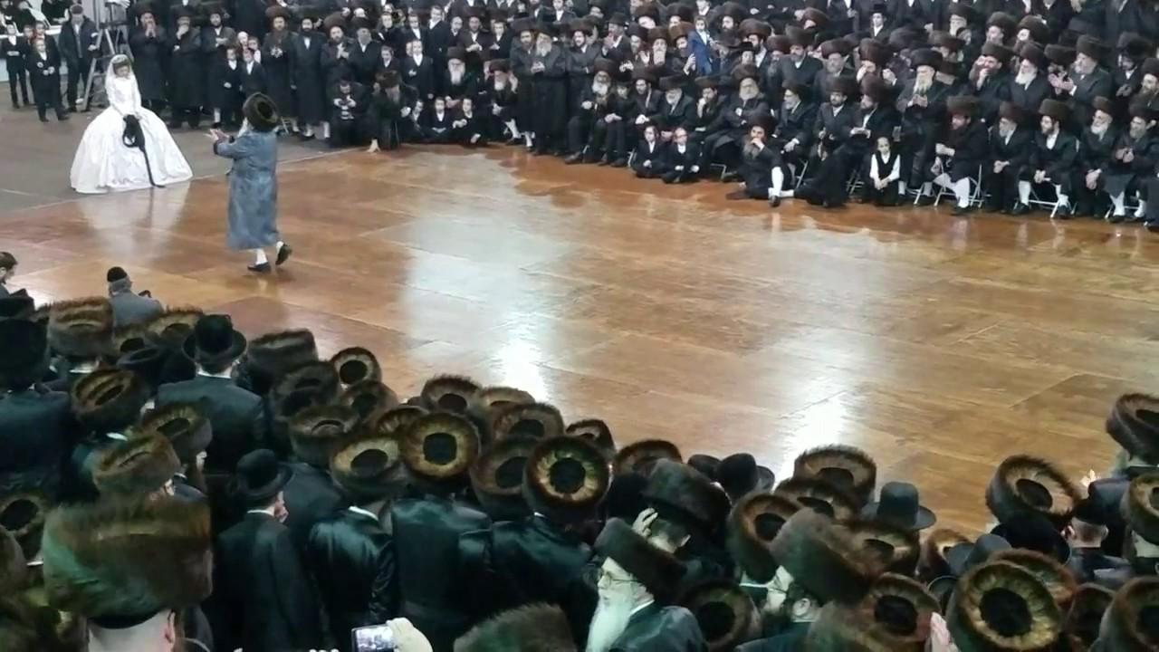 Bobover Rebbe Dancing  Mitzvah Tantz At His Daughter's Wedding - Shvat 5777
