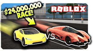 Tesla roadster 2 0 vs Lamborghini egoista (Roblox Vehicle Simulator)