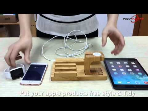 Bamboo Charging Stand Bracket Docking Station Holder For Apple iWatch iPhone iPad