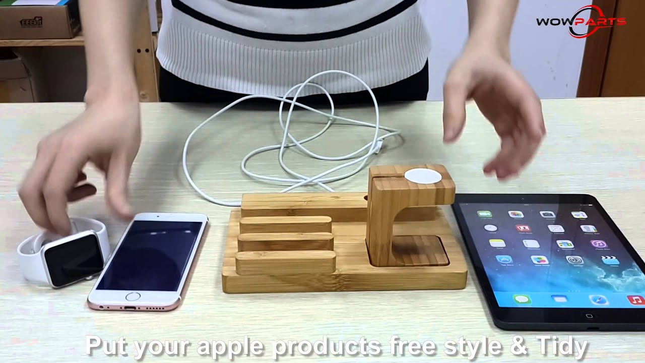 bamboo charging stand bracket docking station holder for. Black Bedroom Furniture Sets. Home Design Ideas