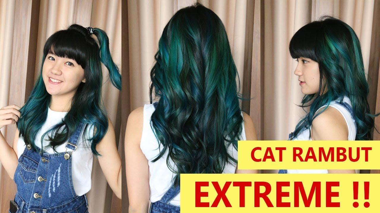 Extreme Cat Rambut Jadi Warna Biru Blue Balayage Ombre Youtube