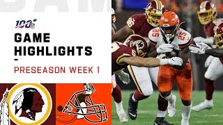 Redskins vs. Browns Preseason Week 1 Highlights | NFL 2019