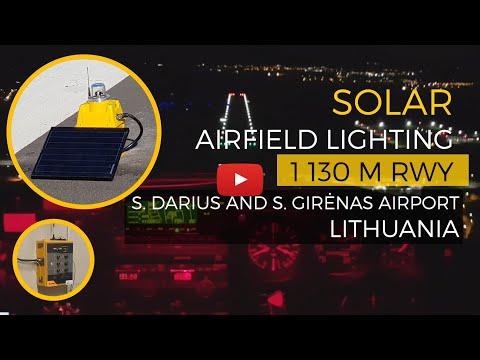 S4GA Solar Runway Lights - Aleksotas Airport runway during night flight