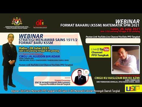 Webinar Strategi Menjawab Sains 1511/2 Format Baharu KSSM Daerah Tangkak