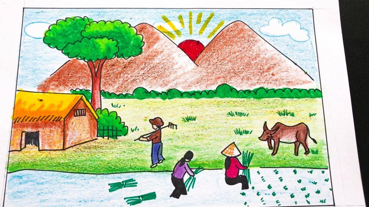 Cách vẽ tranh phong cảnh đơn giản mà đẹp   How to draw landscape very easy