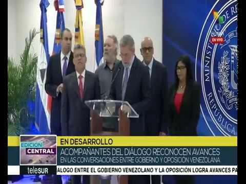 Rueda de prensa tras reunión de diálogo entre gobierno de Venezuela y oposición, 15 diciembre 2017