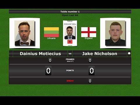 Snooker Open Last 64 : Dainius Motiecius vs Jake Nicholson