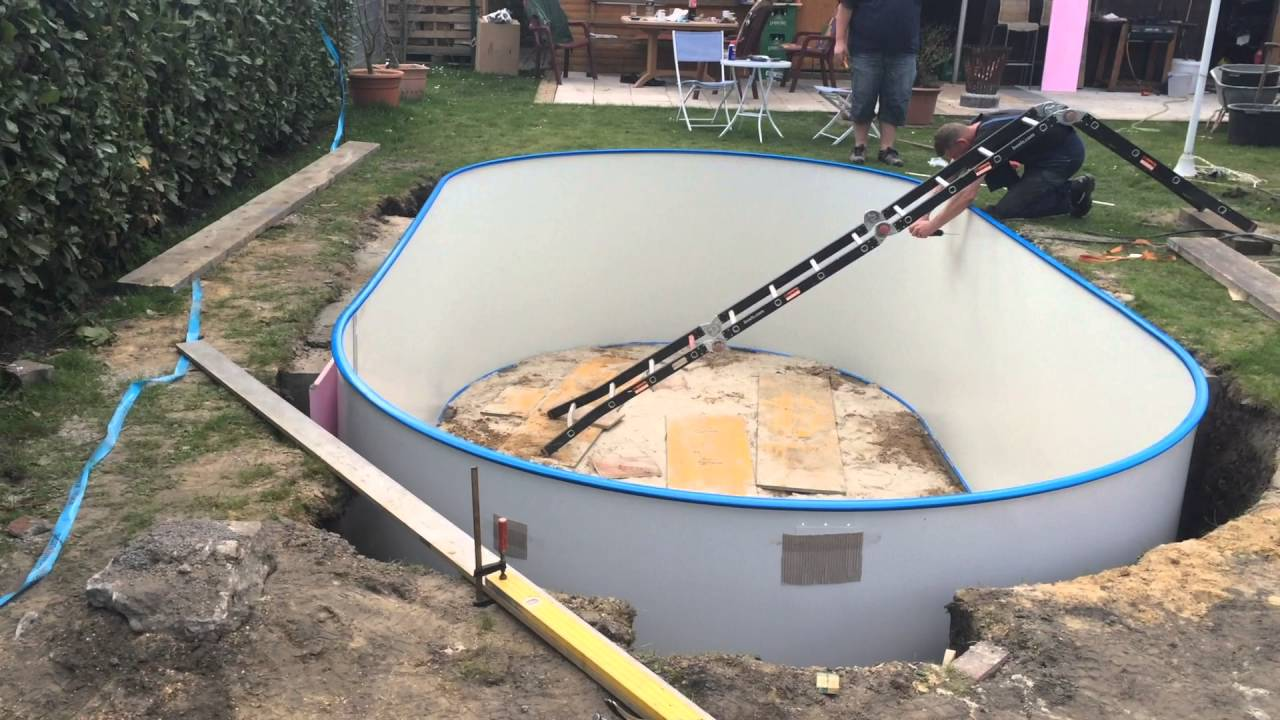 Poolbau youtube for Stahlwand einbaupool