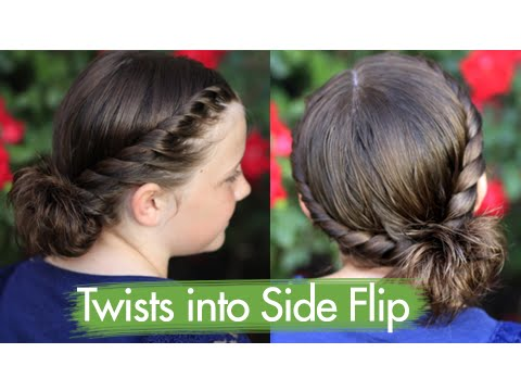 Twists Into Side Flip Updos Cute Girls Hairstyles Youtube