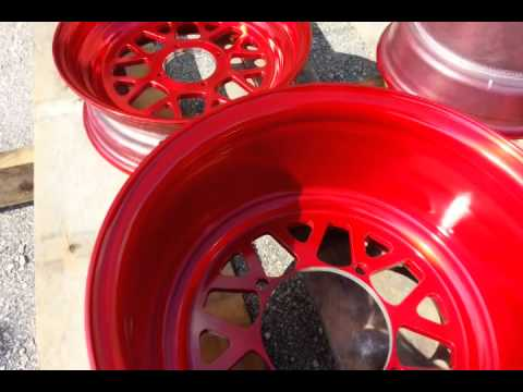 Candy red powder coat honda ruckus wheels