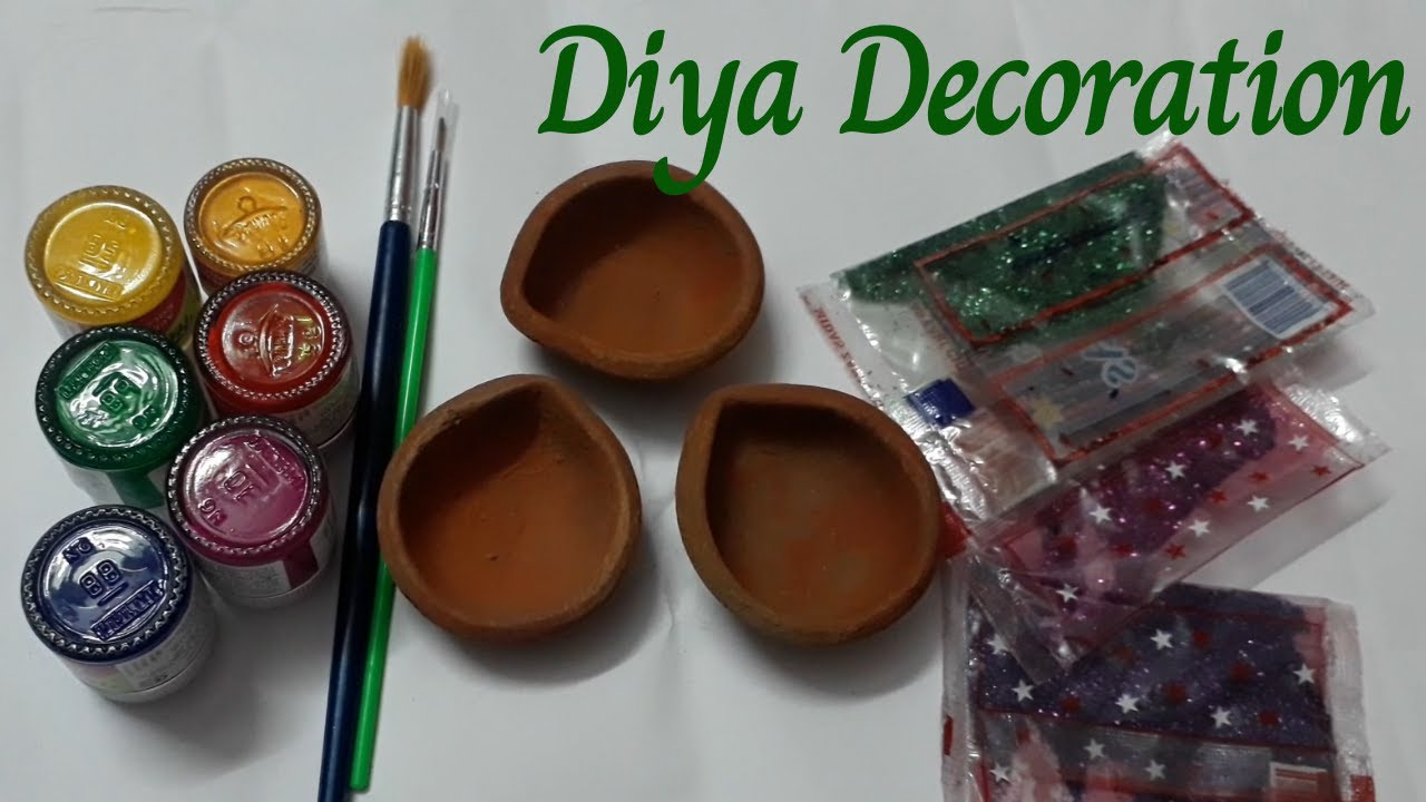 Easy Ways To Decorate Plain Diya At Home With Glitter Diy Diya Painting Ideas Diwali Decoration Youtube