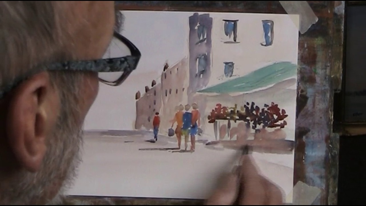 Simple Street Scene With Lots Of Figures In Watercolour