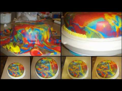 Tie Dye Fondant Cake Youtube