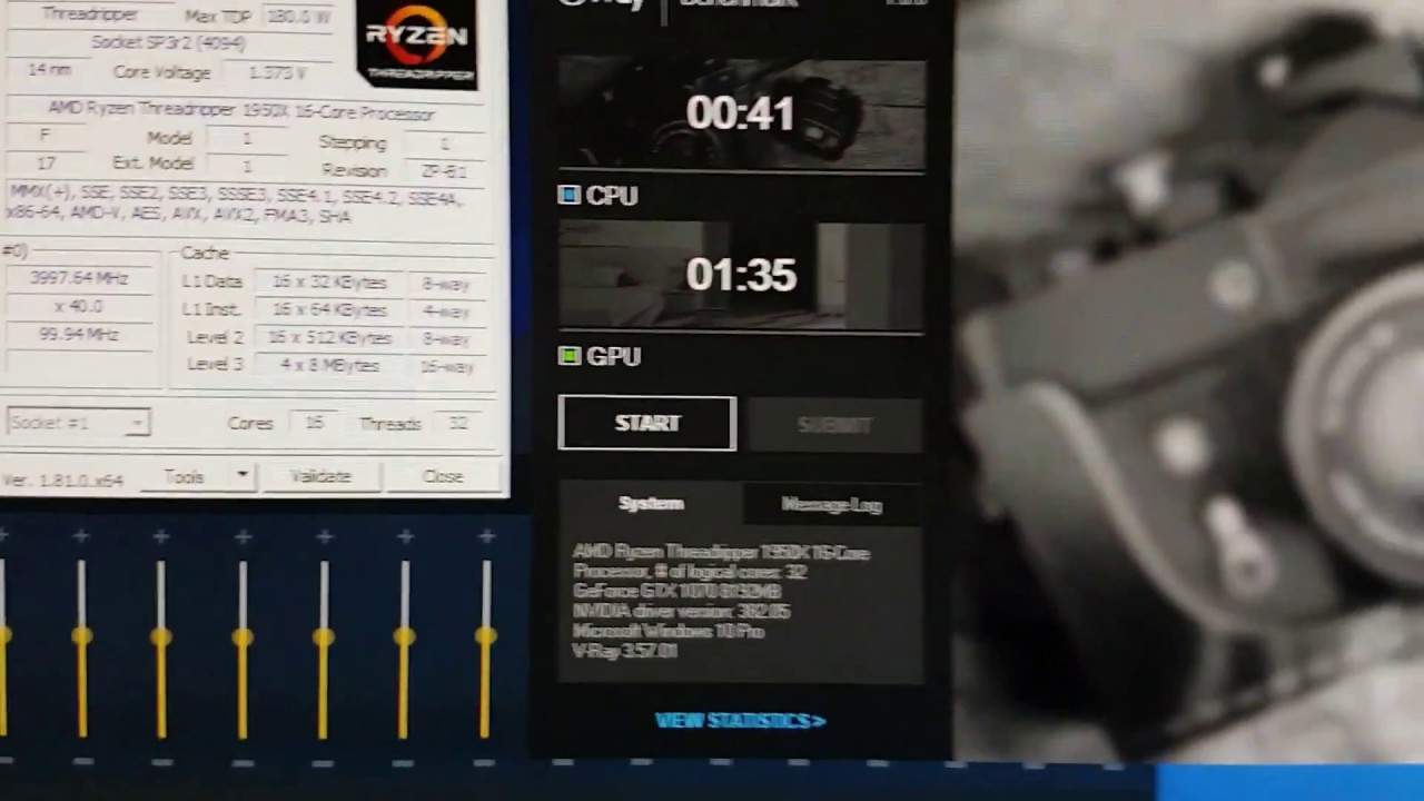 Testando AMD Threadripper 1950x no vray benchmark