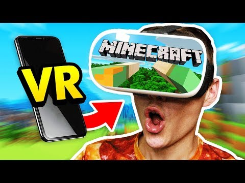 PLAYING MINECRAFT ON MY PHONE IN VIRTUAL REALITY (Minecraft VR IPhone/Android Mobile Funny Gameplay)
