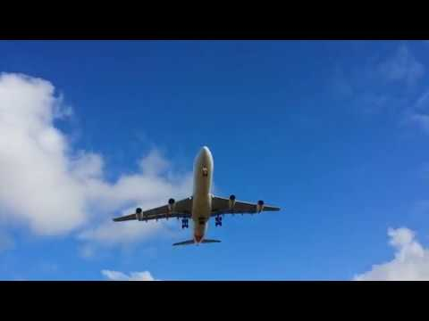 Air Mauritius A340 landing at SSRN international airport