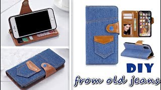DIY FLIP PHONE CASE from old jeans& FAST WAY TO MAKE WITH CREDIT CARD HOLDER