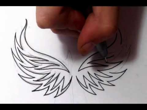 Drawing Tribal Eagle Wings Tattoo Design Quick Sketch Youtube