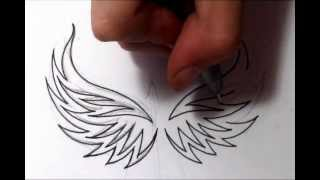 Drawing Tribal Eagle Wings Tattoo Design - Quick Sketch