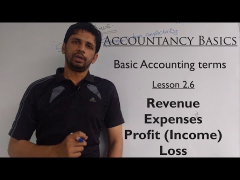 Accounting | Basic Accounting terms | Lesson 2.6 | Revenue; Expenses; Profit and Loss