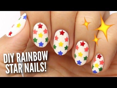 DIY Rainbow Star Nails Using A Hole Puncher!