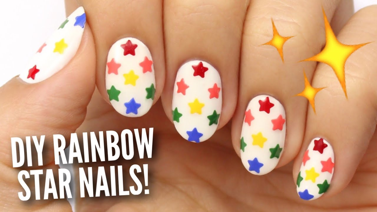 DIY Rainbow Star Nails Using A Hole Puncher! - YouTube